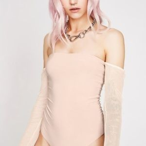Iris Nude Mesh  Long Sleeve Thong Bodysuit